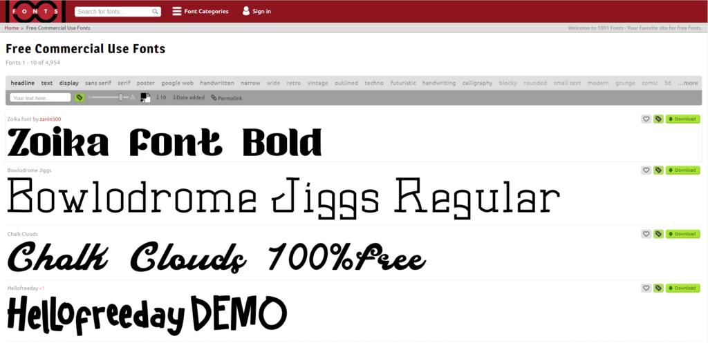 Screenshot von 1001 Fonts (Lizenzfreie Schriftarten)