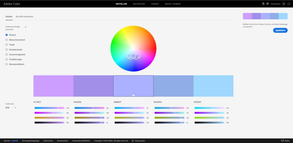 Screenshot von Adobe Color (Farbwahl)