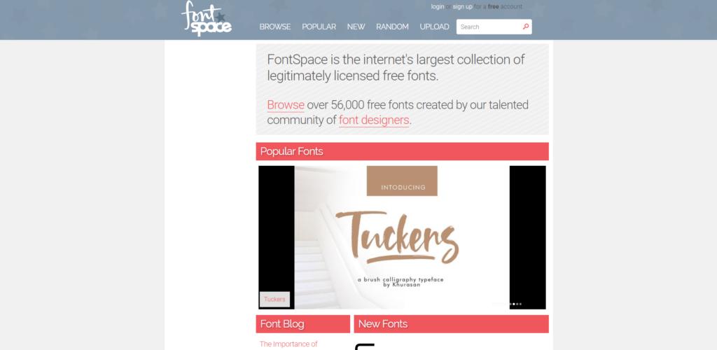 Screenshot von Font Space (Lizenzfreie Schriftarten)