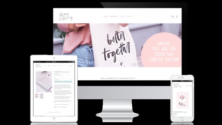 May & Berry Online-Shop als Mockup auf allen Endferäten