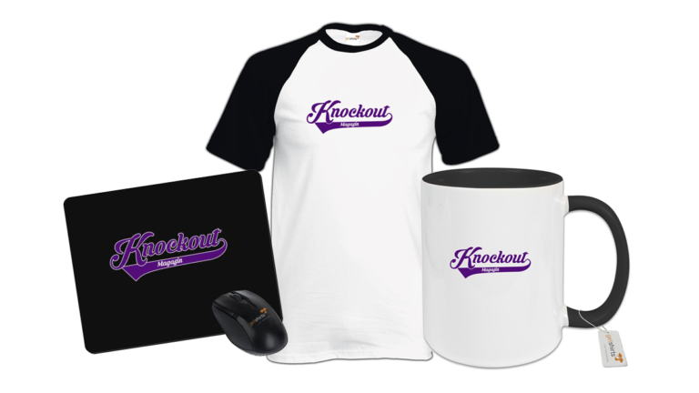 Knockout Magazin Logo-Variante auf T-Shirt, Mauspad und Tasse